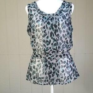 Leopard print, sheer sleeveless, Tie waist top
